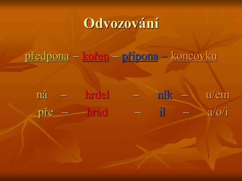  Pokuste se vymyslet slova na základě uvedených schémat: předpona – předpona – kořen předpona – předpona – kořen kořen – přípona – koncovka kořen – přípona – koncovka předpona – kořen – přípona – koncovka předpona – kořen – přípona – koncovka  Napište co nejvíce slov (podstatných jmen) z následujících písmen (ve slově se nesmí žádné písmeno opakovat).