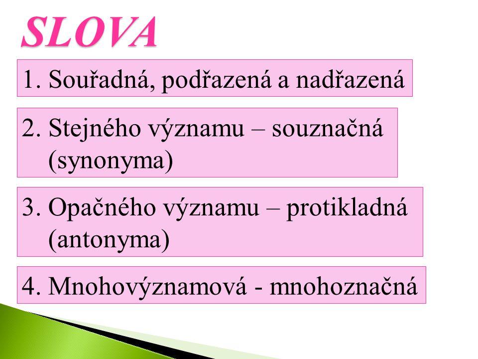 Datum vytvoření: 24. dubna 2012 Klíčová slova: slova souřadná, významem podřazená, nadřazená, opačná, souznačná a mnohoznačná Metodické pokyny: listy