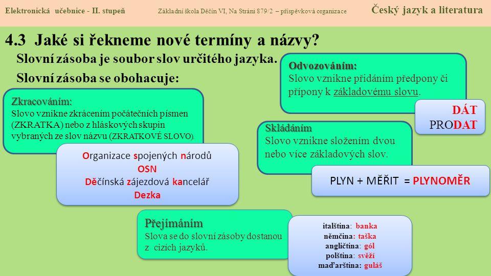 4.3 Jaké si řekneme nové termíny a názvy.Slovní zásoba je soubor slov určitého jazyka.