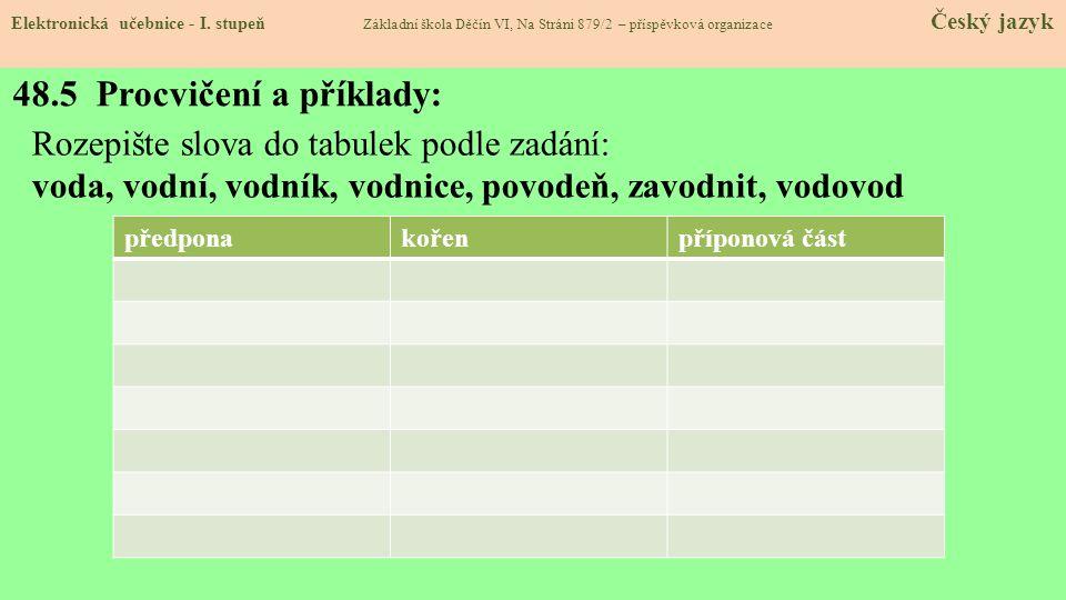 48.5 Procvičení a příklady: Elektronická učebnice - I. stupeň Základní škola Děčín VI, Na Stráni 879/2 – příspěvková organizace Český jazyk Rozepište