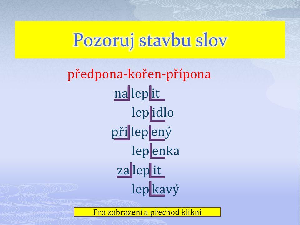 Kořen – je část společná všem příbuzným slovům - LOV - Předpona – část na začátku slova před kořenem VY - LOV Přípona – část slova za kořenem VY - LOV