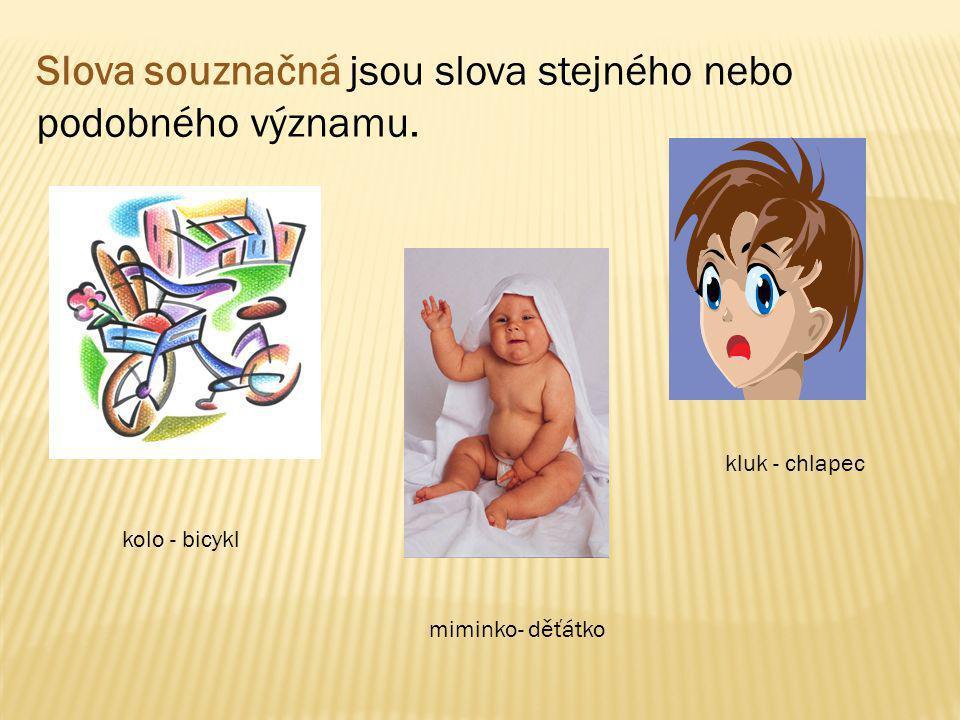 Slova souznačná jsou slova stejného nebo podobného významu. kolo - bicykl miminko- děťátko kluk - chlapec