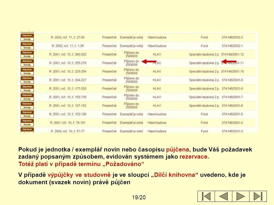 19/20 Pokud je jednotka / exemplář novin nebo časopisu půjčena, bude Váš požadavek zadaný popsaným způsobem, evidován systémem jako rezervace.