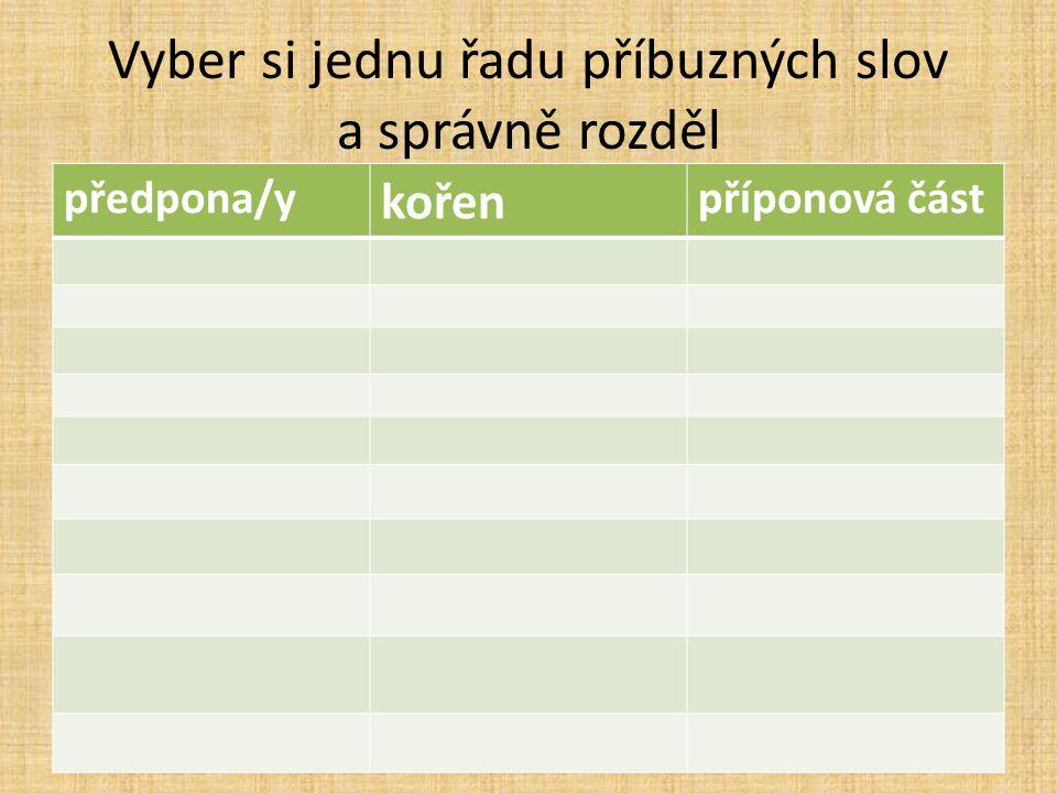 Vyber si jednu řadu příbuzných slov a správně rozděl předpona/y kořen příponová část