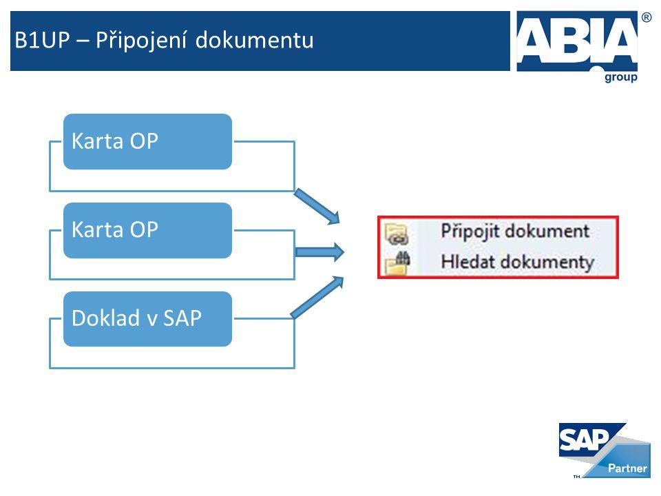 B1UP – Připojení dokumentu Karta OP Doklad v SAP