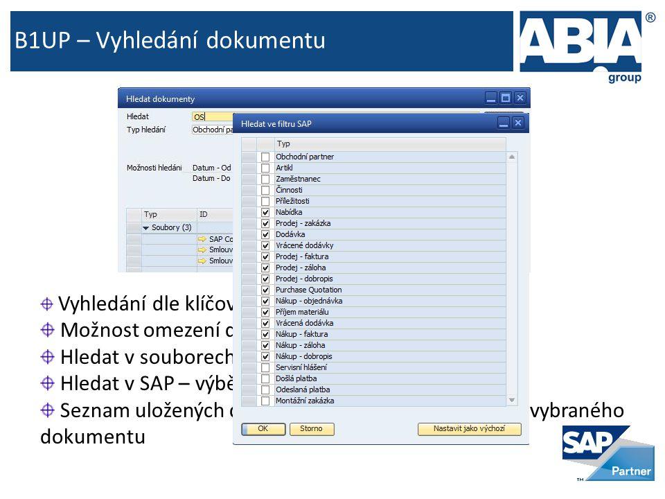 B1UP – Vyhledání dokumentu Vyhledání dle klíčového slova (např.