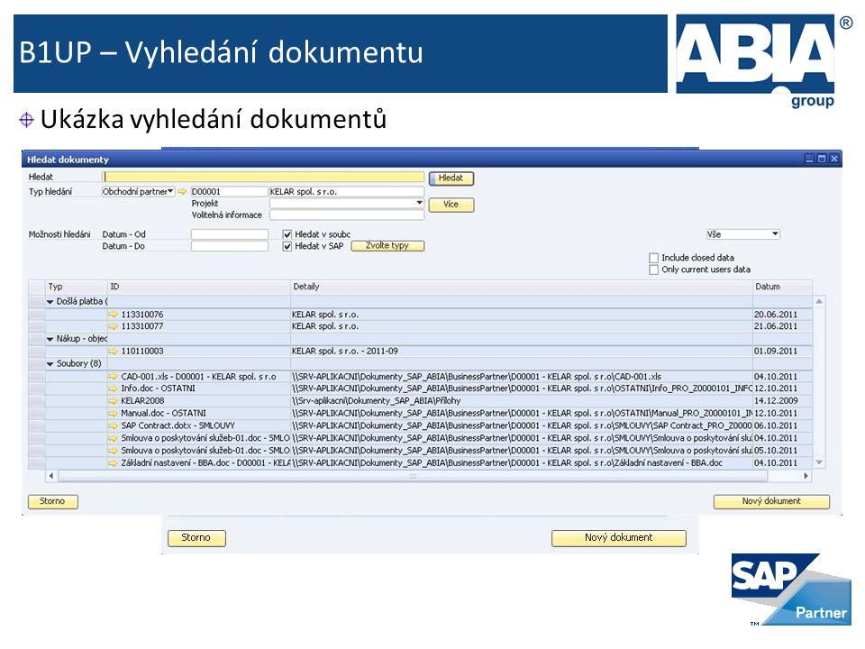 B1UP – Vyhledání dokumentu Ukázka vyhledání dokumentů