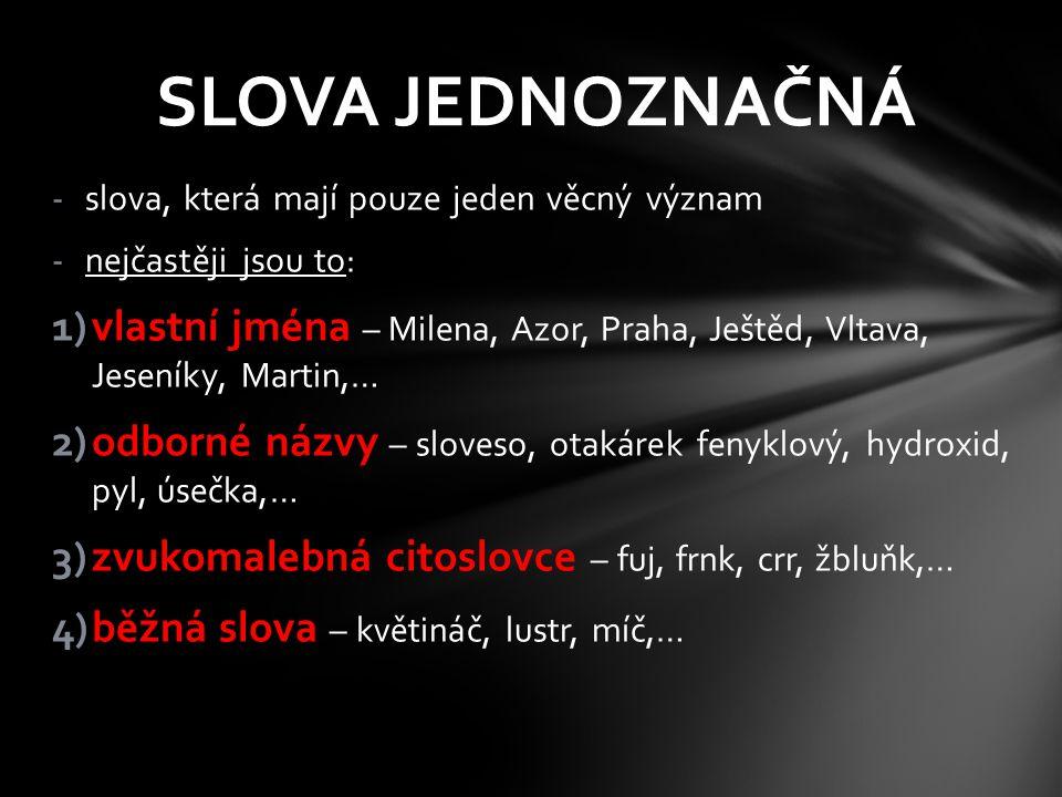 -slova, která mají pouze jeden věcný význam -nejčastěji jsou to: 1)vlastní jména – Milena, Azor, Praha, Ještěd, Vltava, Jeseníky, Martin,… 2)odborné n