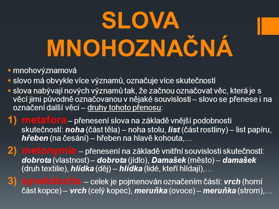 SLOVA MNOHOZNAČNÁ  mnohovýznamová  slovo má obvykle více významů, označuje více skutečností  slova nabývají nových významů tak, že začnou označovat