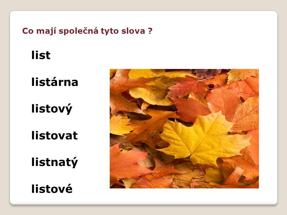 Co mají společná tyto slova ? list listárna listový listovat listnatý listové