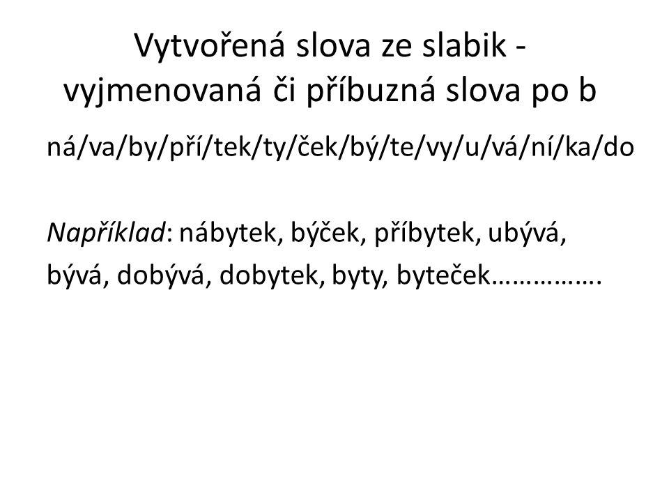Vytvořená slova ze slabik - vyjmenovaná či příbuzná slova po b ná/va/by/pří/tek/ty/ček/bý/te/vy/u/vá/ní/ka/do Například: nábytek, býček, příbytek, ubý