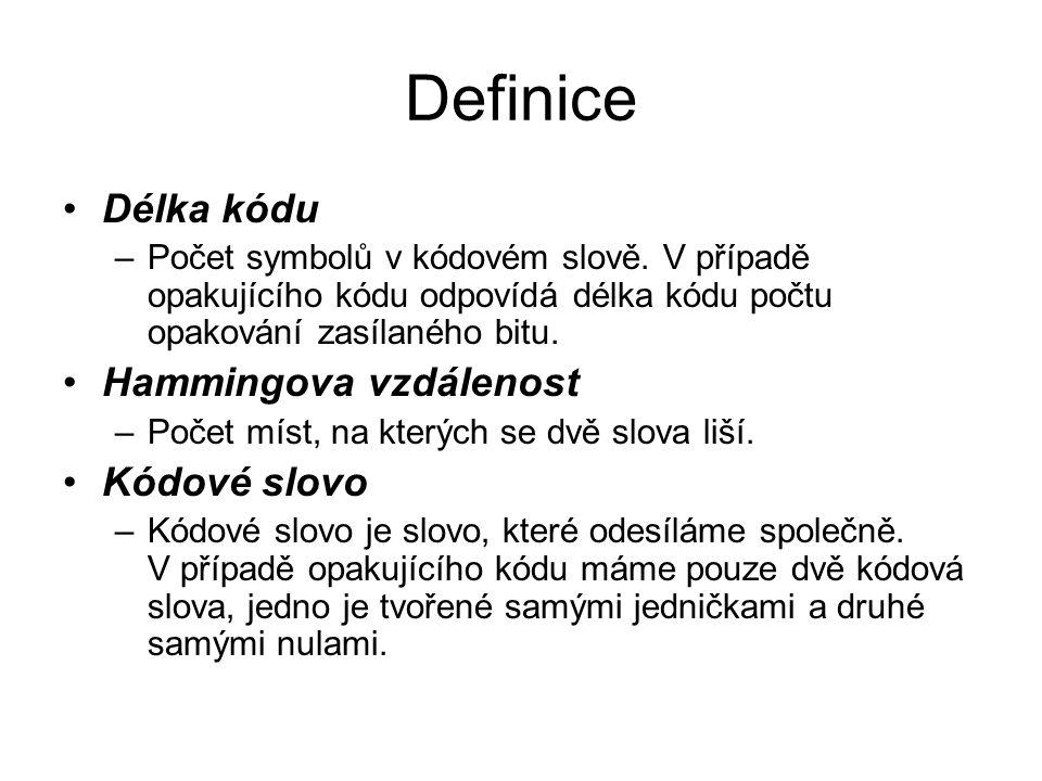 Definice Délka kódu –Počet symbolů v kódovém slově. V případě opakujícího kódu odpovídá délka kódu počtu opakování zasílaného bitu. Hammingova vzdálen