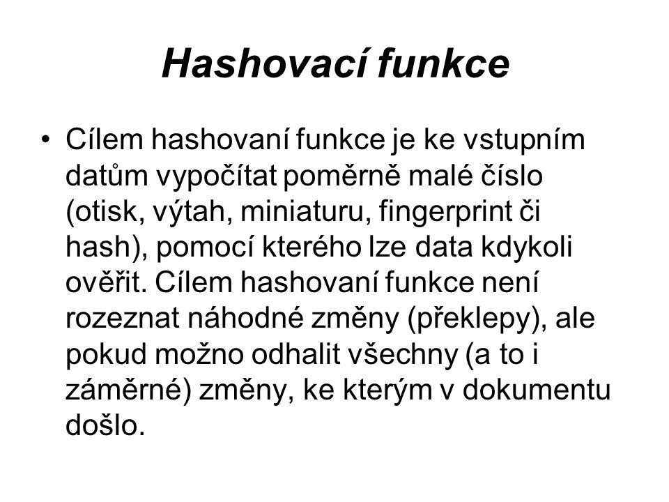 Hashovací funkce Cílem hashovaní funkce je ke vstupním datům vypočítat poměrně malé číslo (otisk, výtah, miniaturu, fingerprint či hash), pomocí které