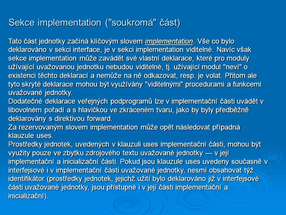 Sekce implementation (