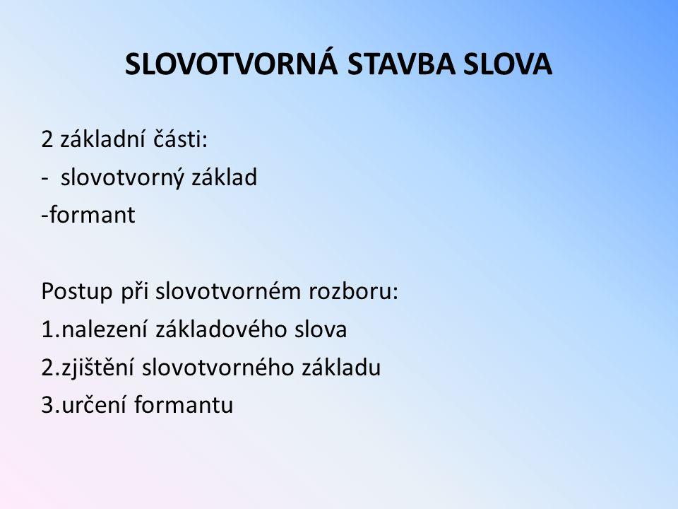 SLOVOTVORNÁ STAVBA SLOVA 2 základní části: - slovotvorný základ -formant Postup při slovotvorném rozboru: 1.nalezení základového slova 2.zjištění slov