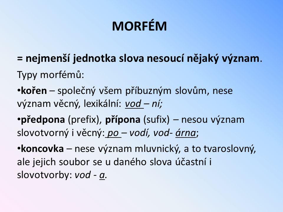 MORFÉM = nejmenší jednotka slova nesoucí nějaký význam. Typy morfémů: kořen – společný všem příbuzným slovům, nese význam věcný, lexikální: vod – ní;
