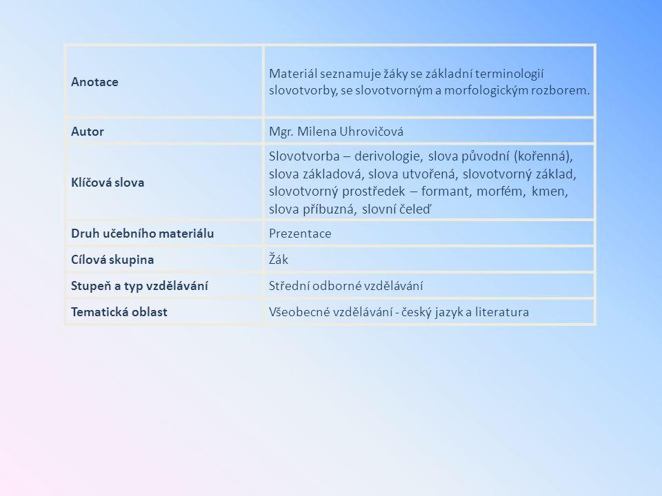 Anotace Materiál seznamuje žáky se základní terminologií slovotvorby, se slovotvorným a morfologickým rozborem. AutorMgr. Milena Uhrovičová Klíčová sl