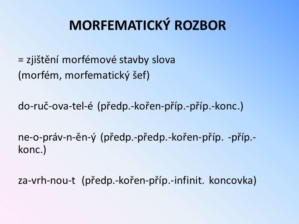 MORFEMATICKÝ ROZBOR = zjištění morfémové stavby slova (morfém, morfematický šef) do-ruč-ova-tel-é (předp.-kořen-příp.-příp.-konc.) ne-o-práv-n-ěn-ý (p