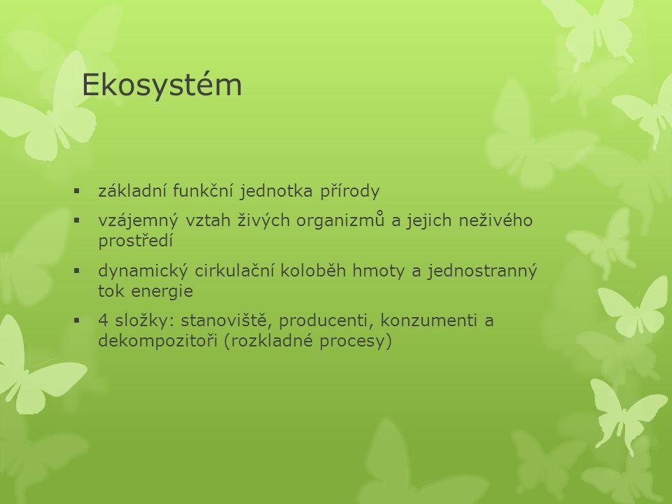 Ekosystém  základní funkční jednotka přírody  vzájemný vztah živých organizmů a jejich neživého prostředí  dynamický cirkulační koloběh hmoty a jednostranný tok energie  4 složky: stanoviště, producenti, konzumenti a dekompozitoři (rozkladné procesy)