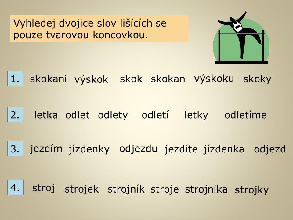 Vyhledej dvojice slov lišících se pouze tvarovou koncovkou. skokani výskok skokskokan výskoku skoky 1. 2. letka odletodletyodletí letky odletíme 3. je