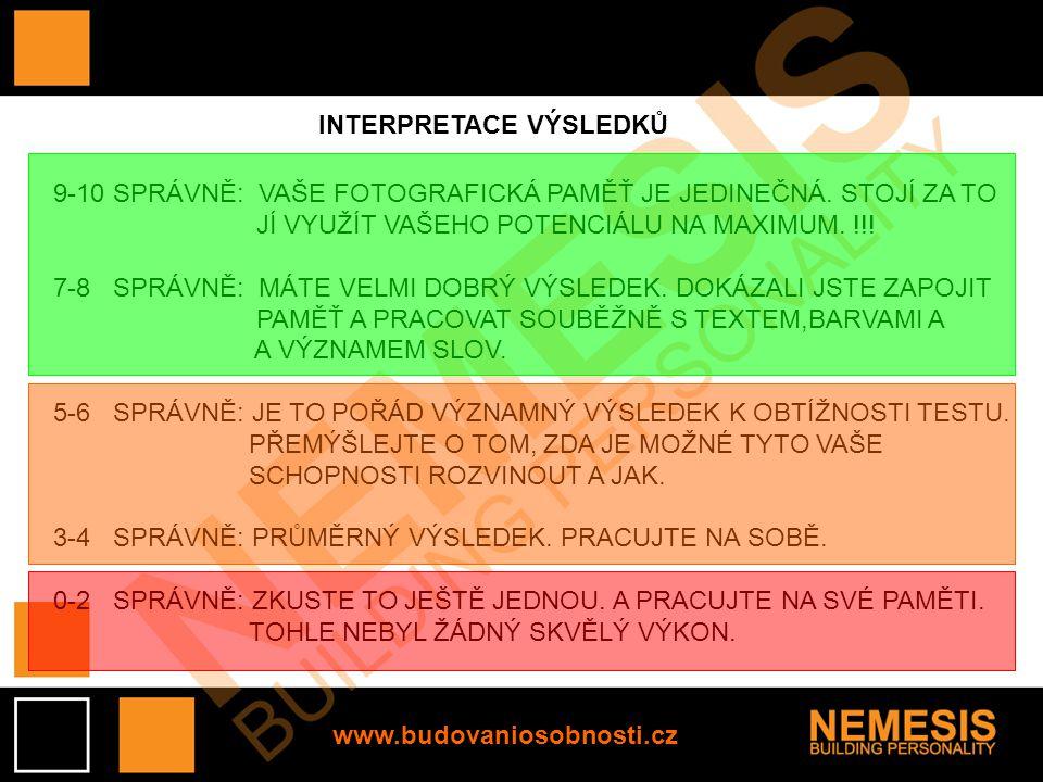 www.budovaniosobnosti.cz INTERPRETACE VÝSLEDKŮ 9-10 SPRÁVNĚ: VAŠE FOTOGRAFICKÁ PAMĚŤ JE JEDINEČNÁ. STOJÍ ZA TO JÍ VYUŽÍT VAŠEHO POTENCIÁLU NA MAXIMUM.