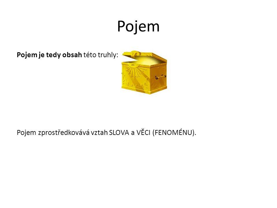 Pojem Pojem je tedy obsah této truhly: Pojem zprostředkovává vztah SLOVA a VĚCI (FENOMÉNU).