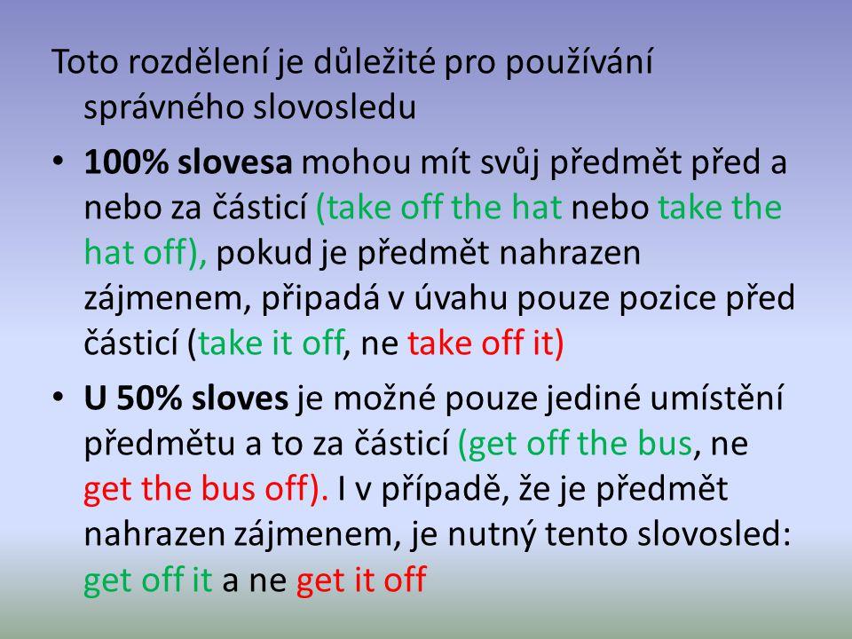 Toto rozdělení je důležité pro používání správného slovosledu 100% slovesa mohou mít svůj předmět před a nebo za částicí (take off the hat nebo take t