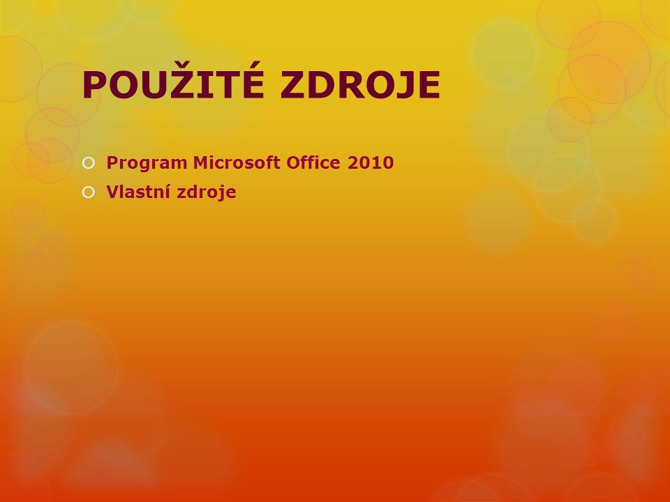 POUŽITÉ ZDROJE  Program Microsoft Office 2010  Vlastní zdroje