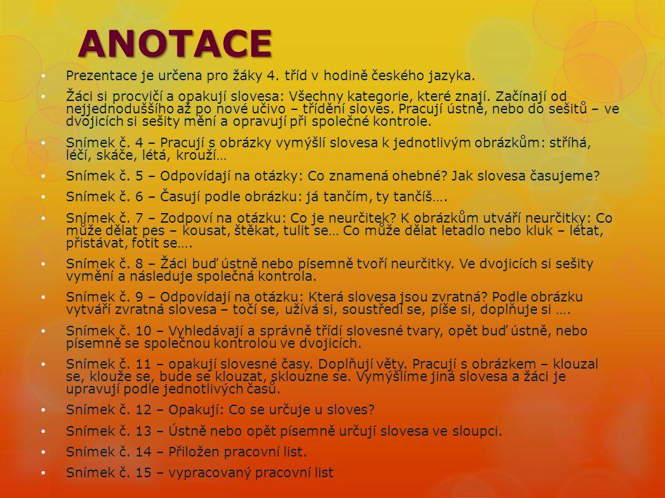 ANOTACE Prezentace je určena pro žáky 4.tříd v hodině českého jazyka.