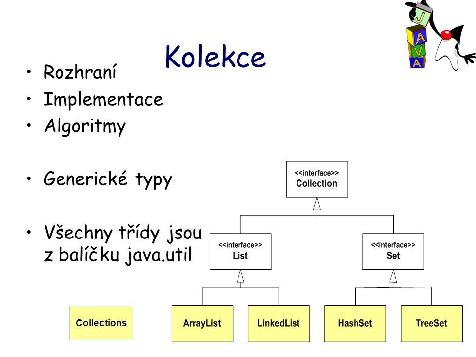 Kolekce Rozhraní Implementace Algoritmy Generické typy Všechny třídy jsou z balíčku java.util Collections