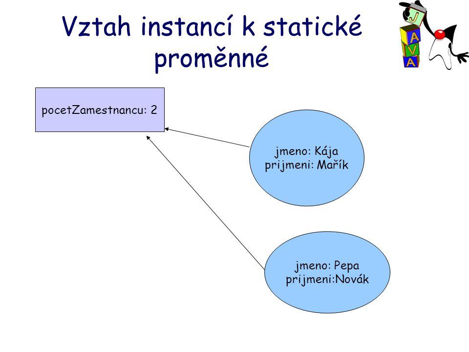 Vztah instancí k statické proměnné pocetZamestnancu: 2 jmeno: Pepa prijmeni:Novák jmeno: Kája prijmeni: Mařík