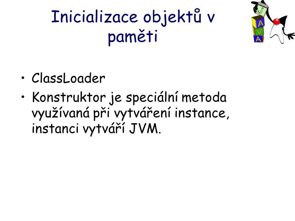 Inicializace objektů v paměti ClassLoader Konstruktor je speciální metoda využívaná při vytváření instance, instanci vytváří JVM.