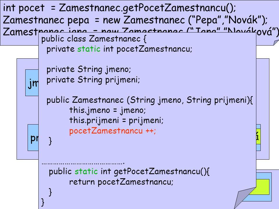 int pocet = Zamestnanec.getPocetZamestnancu(); Zamestnanec pepa = new Zamestnanec ( Pepa , Novák ); Zamestnanec jana = new Zamestnanec ( Jana , Nováková ); prijmeni = null jmeno = null pocetZamestnancu = 0 prijmeni = null jmeno = null Pepa Novák Jana 1 Nováková 2 public class Zamestnanec { private static int pocetZamestnancu; private String jmeno; private String prijmeni; public Zamestnanec (String jmeno, String prijmeni){ this.jmeno = jmeno; this.prijmeni = prijmeni; pocetZamestnancu ++; } …………………………………….