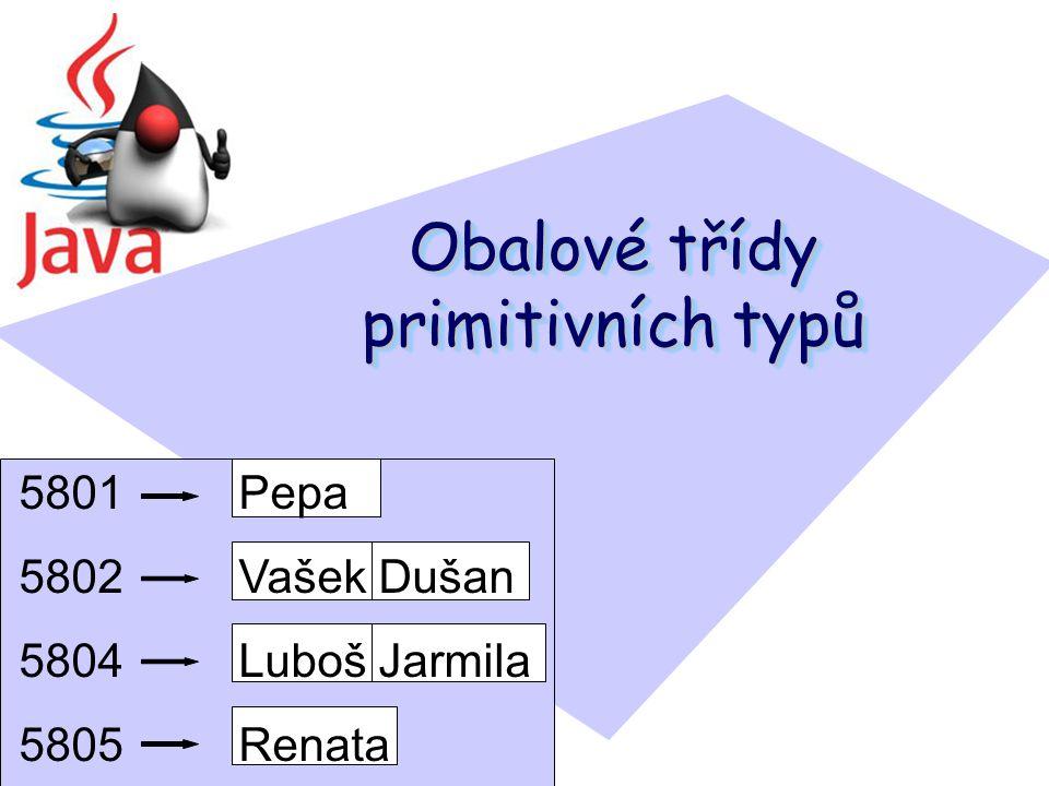 Obalové třídy primitivních typů 5801 Pepa 5802 Vašek Dušan 5804 Luboš Jarmila 5805 Renata 5806