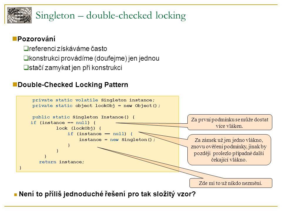 private static volatile Singleton instance; private static object lockObj = new Object(); public static Singleton Instance() { if (instance == null) {