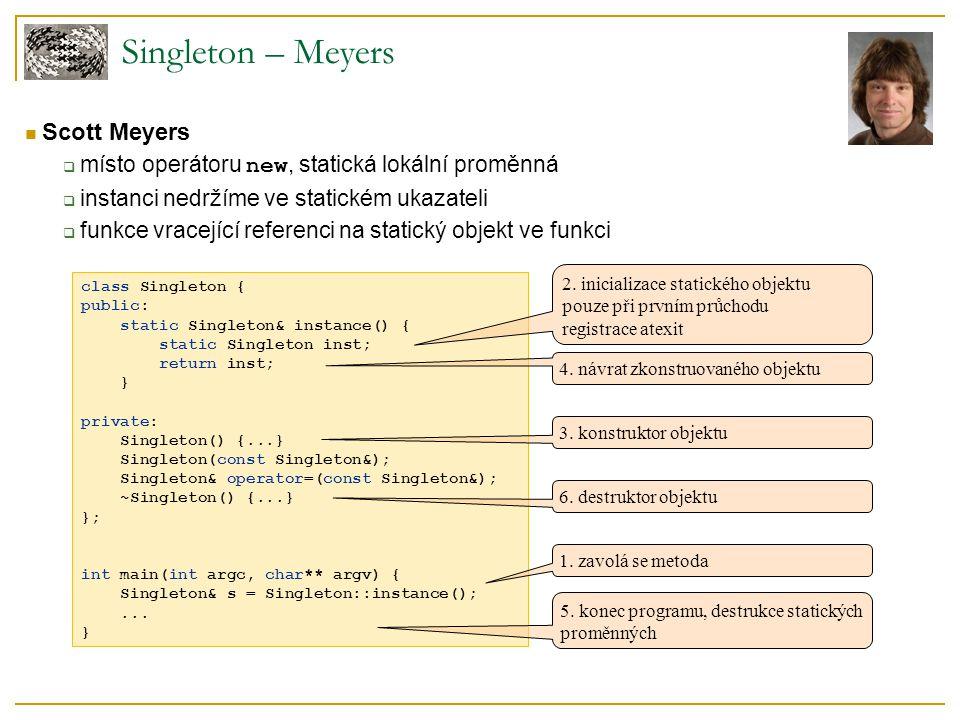 class Singleton { public: static Singleton& instance() { static Singleton inst; return inst; } private: Singleton() {...} Singleton(const Singleton&);