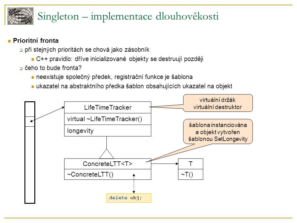 Singleton – implementace dlouhověkosti Prioritní fronta  při stejných prioritách se chová jako zásobník C++ pravidlo: dříve inicializované objekty se