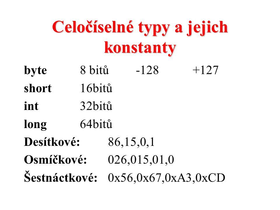 Celočíselné typy a jejich konstanty byte8 bitů-128 +127 short16bitů int32bitů long64bitů Desítkové: 86,15,0,1 Osmíčkové:026,015,01,0 Šestnáctkové:0x56