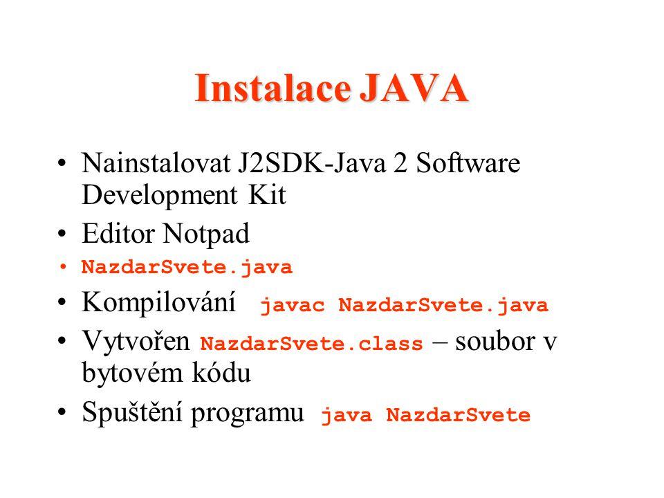 Instalace JAVA Nainstalovat J2SDK-Java 2 Software Development Kit Editor Notpad NazdarSvete.java Kompilování javac NazdarSvete.java Vytvořen NazdarSve