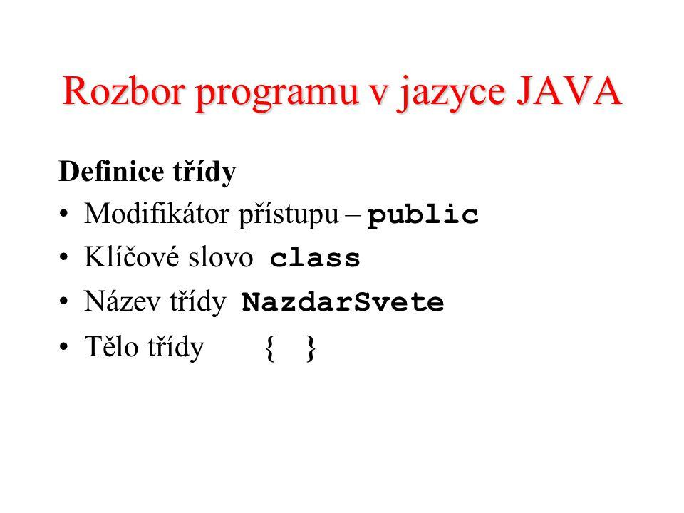 Rozbor programu v jazyce JAVA Definice třídy Modifikátor přístupu – public Klíčové slovo class Název třídy NazdarSvete Tělo třídy{ }