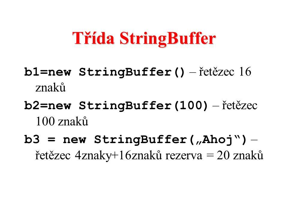 "Třída StringBuffer b1=new StringBuffer() – řetězec 16 znaků b2=new StringBuffer(100) – řetězec 100 znaků b3 = new StringBuffer(""Ahoj"") – řetězec 4znak"