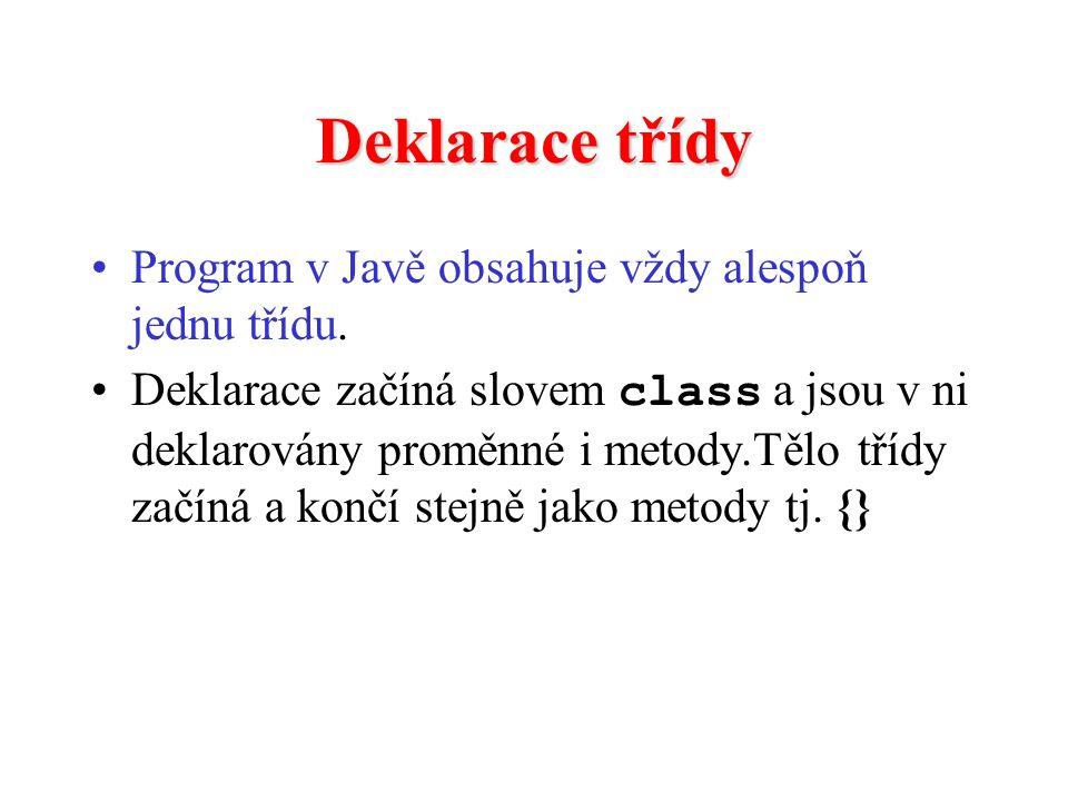 Deklarace třídy Program v Javě obsahuje vždy alespoň jednu třídu. Deklarace začíná slovem class a jsou v ni deklarovány proměnné i metody.Tělo třídy z