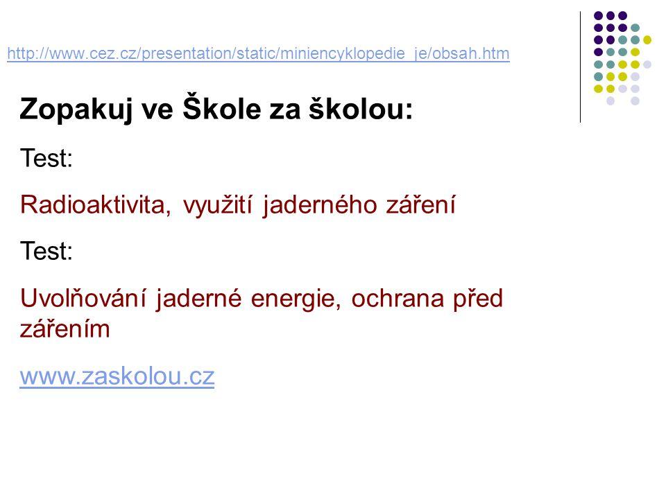 http://www.cez.cz/presentation/static/miniencyklopedie_je/obsah.htm Zopakuj ve Škole za školou: Test: Radioaktivita, využití jaderného záření Test: Uv