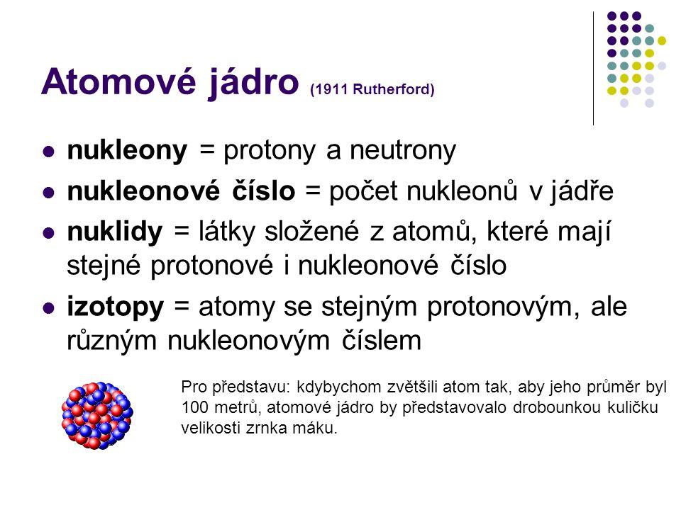 Atomové jádro (1911 Rutherford) nukleony = protony a neutrony nukleonové číslo = počet nukleonů v jádře nuklidy = látky složené z atomů, které mají st