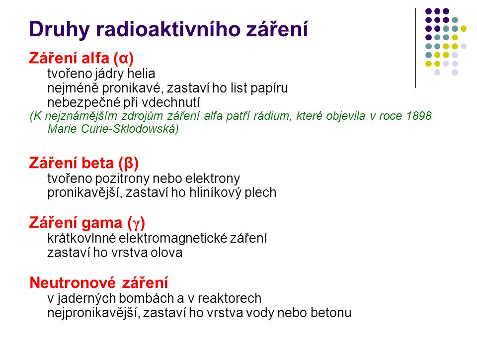 Druhy radioaktivního záření Záření alfa (α) tvořeno jádry helia nejméně pronikavé, zastaví ho list papíru nebezpečné při vdechnutí (K nejznámějším zdr