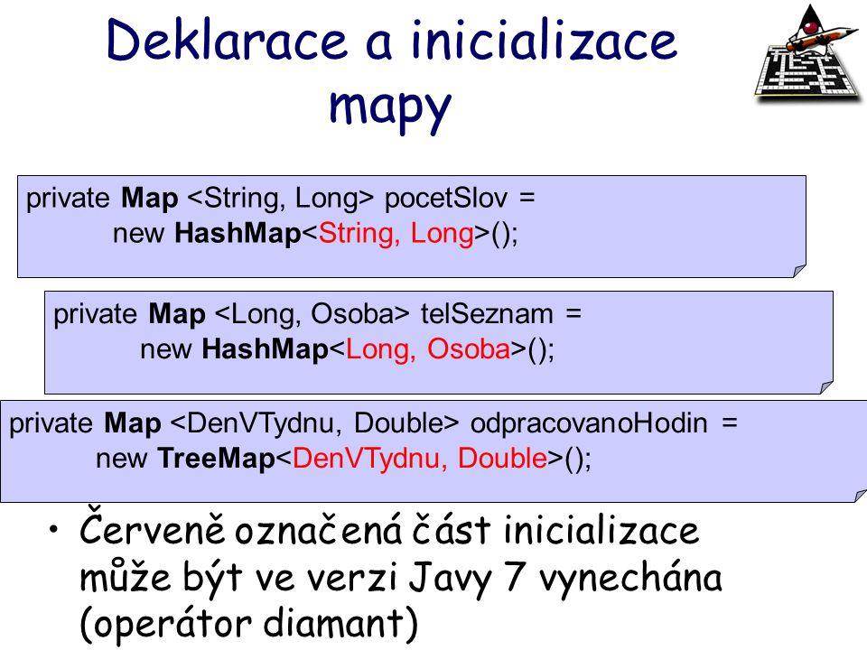 Deklarace a inicializace mapy Červeně označená část inicializace může být ve verzi Javy 7 vynechána (operátor diamant) private Map pocetSlov = new Has