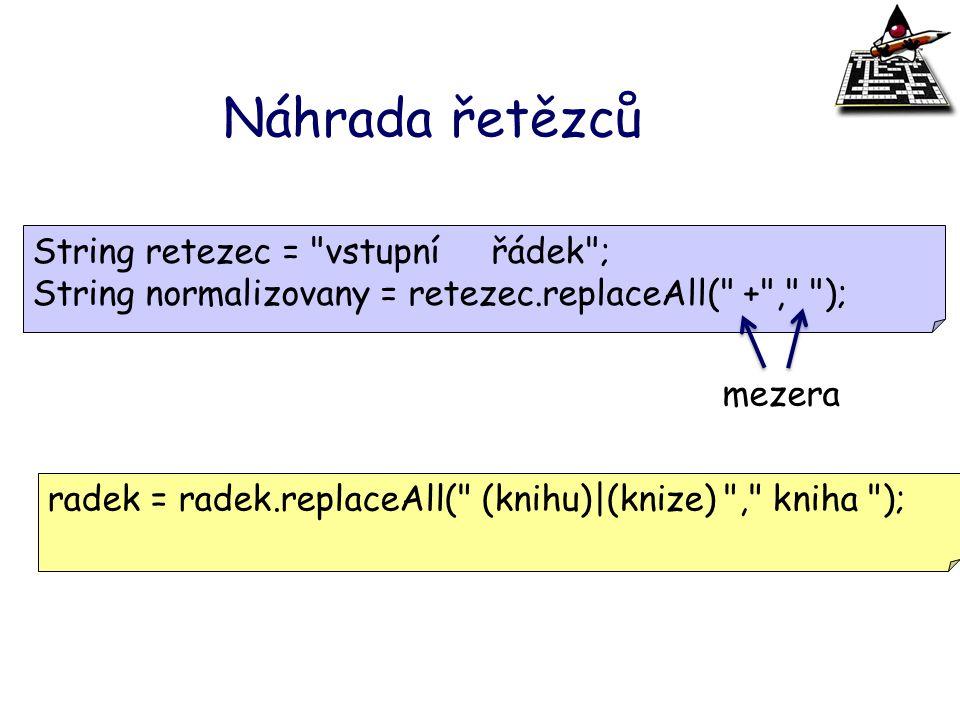 Náhrada řetězců String retezec =