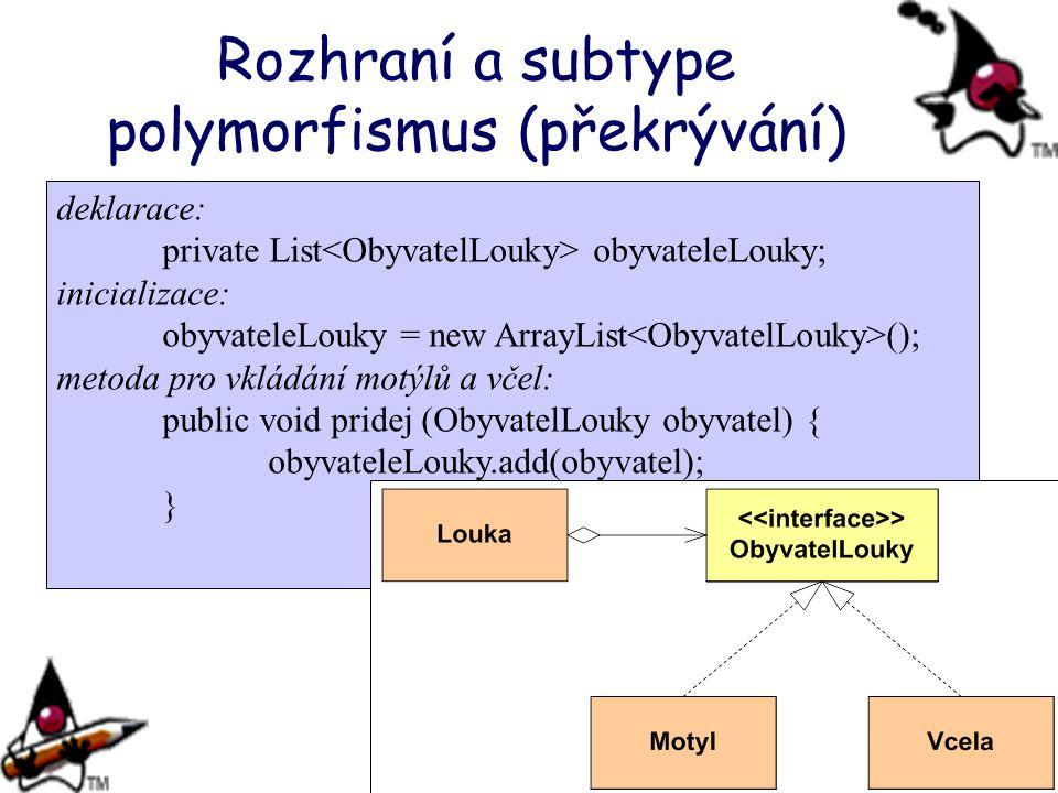 deklarace: private List obyvateleLouky; inicializace: obyvateleLouky = new ArrayList (); metoda pro vkládání motýlů a včel: public void pridej (Obyvat