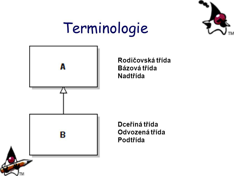 Terminologie Dceřiná třída Odvozená třída Podtřída Rodičovská třída Bázová třída Nadtřída