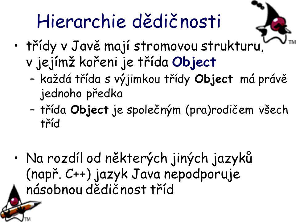Hierarchie dědičnosti třídy v Javě mají stromovou strukturu, v jejímž kořeni je třída Object –každá třída s výjimkou třídy Object má právě jednoho pře
